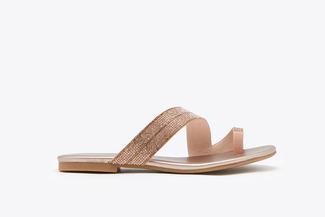 1081-3 Champagne Glistening Embellished Leather Slide Sandals