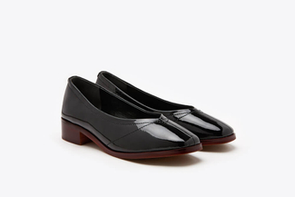 1237-29 Black Round-toe Patent Leather Loafers