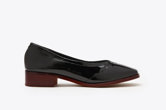 1237-29 Black Round-toe Patent Loafers