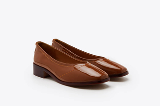 1237-29 Brown Round-toe Patent Leather Loafers