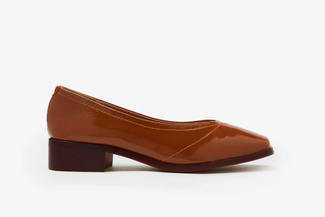 1237-29 Brown Round-toe Patent Loafers