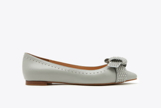 1359-3 Grey Rivet Studs Double Knotted Pointy Toe Leather Flats
