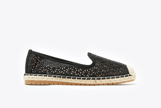 164-12 Black Metallic Perforated Espadrille Loafers