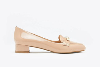1725-36 Taupe Glossy Embellished Loafer Pumps