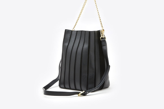 1801 Black Gold Chain Leather Bucket Shoulder Bag