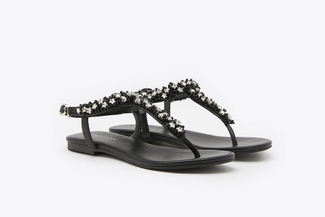 1833-31 Black Stars Embellished T-Bar Sandals