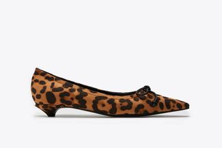 262-1 Almond Leopard Print Bow Pumps