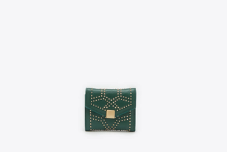 2627-1 Green Studded Square Flap Wallet
