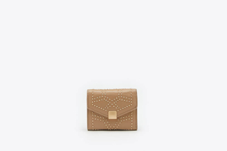 2627-1 Khaki Studded Square Flap Wallet