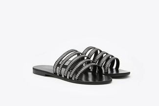 3088-90 Black Diamante Embellished Cage Slide Sandals