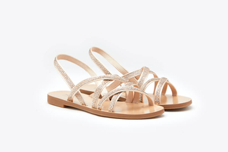 3088-94 Almond Diamante Multi-Cross Strap Sandals