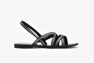 3088-94 Black Diamante Multi-Cross Strap Sandals