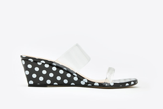 3671-2 Black Polka Dot  Wedge Sandals