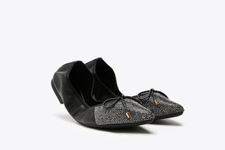 5250-39A Black Bow Glitter Foldable Leather Flats