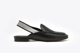 6936-53 Black Classic Slingback Leather Loafer Mules