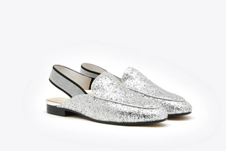6936-53A Silver Classic Slingback Leather Loafer Mules