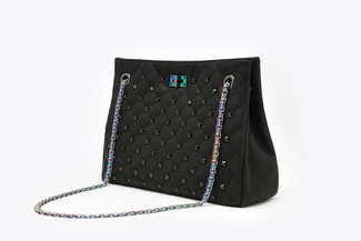 9001A Black Quilted Studded Handbag