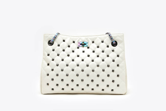 9001A White Quilted Studded Handbag