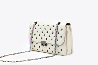 9073A Beige Quilted Studded Clutch