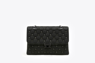 9073A Black Quilted Studded Clutch