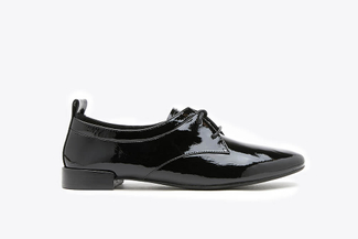 917-5 Black Glossy Lace-up Patent Leather Loafers
