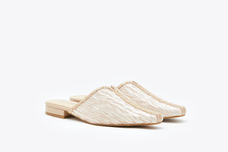 9238-10 Almond Glamour Textured Mules