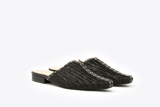 9238-10 Black Glamour Textured Mules