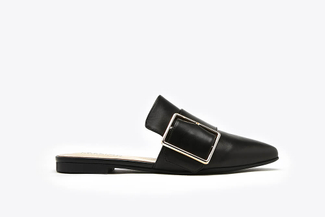 956-3 Black Gold-tone Buckle Mules