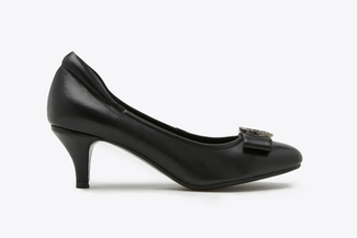 A313-2 Black Square Toe Buckle Bow Leather Heels