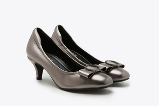 A313-2 Pewter Square Toe Buckle Bow Leather Heels
