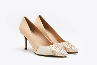 LT828-45 Almond Pleated Pointy Front Studded Leather Heels