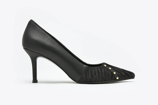 LT828-45 Black Pleated Pointy Front Studded Leather Heels