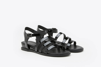 R1236-10 Black Metallic Gladiator Leather Sandals