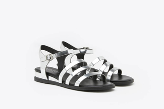 R1236-10 Silver Metallic Gladiator Leather Sandals
