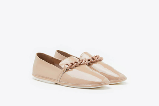 1837-1 Taupe Chain Glossy Patent Leather Loafers