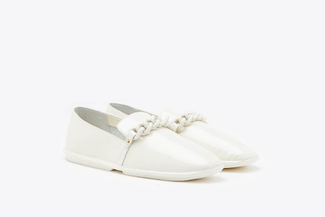1837-1 White Chain Glossy Patent Leather Loafers