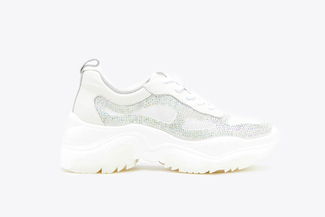 186-3 White Diamante Embellished Chunky Sneakers