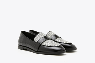 232A-5 Black Tweed Panel Leather Loafers