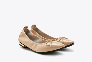 309-1 Nude Pointy Toe Glossy Patent Leather Bow Flats