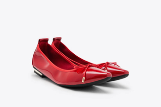 309-1 Red Pointy Toe Glossy Patent Leather Bow Flats