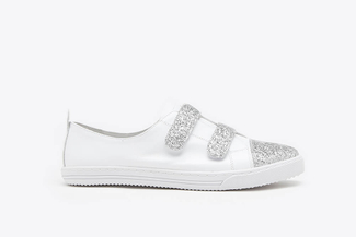 668-15 White Glitter Accent Leather Sneakers