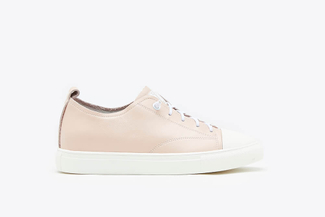 80-5 Pink Stitched Lace Up Leather Sneakers