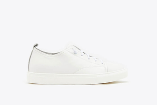 80-5 White Stitched Lace Up Leather Sneakers
