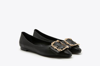8728-23 Black Vintage Buckle Leather Flats