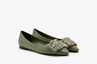 8728-23 Green Vintage Buckle Leather Flats