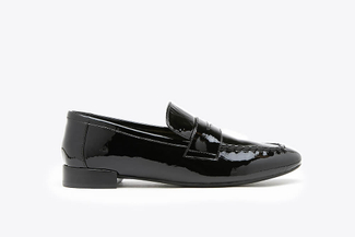 917-2 Black Glossy Metallic Leather Loafers