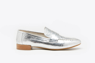 917-2 Silver Glossy Metallic Leather Loafers