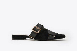 9238-1 Black Cross-strapped Woven Buckle Mules