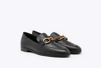 9678-1 Black Metal Chain Slip On Leather Loafers