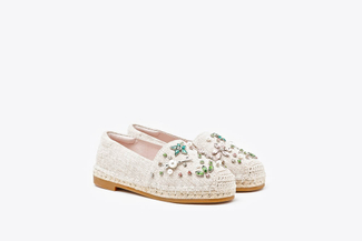 BB6338-1 Almond Kids Crystal Embellished Espadrilles